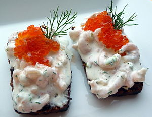 Roe - Prawns skagen topped with cold-smoked salmon roe, on bread