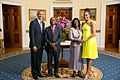 President Barack Obama and First Lady Michelle Obama greet His Excellency José Mário Vaz, President of the Republic of Guinea-Bissau, and Ms. Rosa Teixeira Goudiaby Vaz.jpg