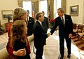 President George W. Bush congratulates Senator Mike DeWine, R-Ohio, on S. 650, the Pediatric Equity Research Act of 2003.jpg