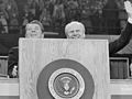 President Gerald Ford and Ronald Reagan stand at the podium at the Republican National Convention, Kansas City, Missouri (cropped02).jpg