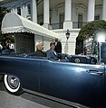 President John F. Kennedy and President Dr. Sarvepalli Radhakrishnan of India in Car before Motorcade (14006700820).jpg