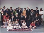President and Mrs-1. Bush pose with their children, their spouses and grandchildren for a family portrait in Houston... - NARA - 186455.jpg