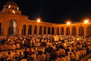 Tarawih - Tarawih prayer at Great Mosque of Kairouan, Tunisia.