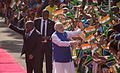 Prime Minister Narendra Modi being greeted, during the ceremonial welcome, at the State House, in Dar es Salaam, Tanzania.jpg