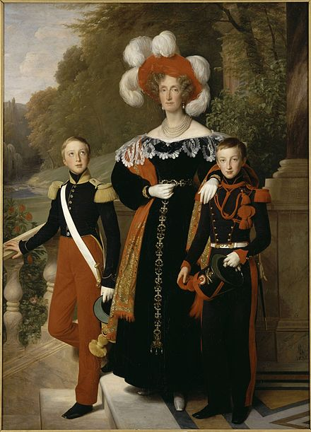 Maria Amalia, by Louis Hersent, 1835 Queen Marie Amelie with her youngest sons, the Dukes of Montpensier and Aumale by Louis Hersent (1835, Versailles) .jpg