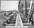 Queensland State Archives 4036 Formwork scaffolding for reinforced concrete footway slabs on east side of bridge Brisbane 1 April 1940.png