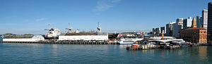 Queens Wharf, Auckland - Queens Wharf in 2007. The two white sheds date back to 1911 and 1914.
