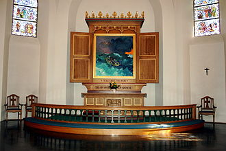 Sven Havsteen-Mikkelsen - Altar painting (1991) in Rønne Church on Bornholm of Christ calming a storm in a boat together with his disciples