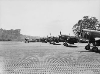 No. 25 Squadron RNZAF - RNZAF Corsairs with an RAAF Boomerang on Bougainville, 1945.