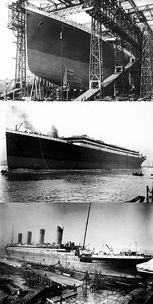 Photograph montage of Titanic 1. in a  huge gantry during construction, 2. its launch, the ship is still  missing a part of the super structure and 3. Titanic in the fitting-out  berth
