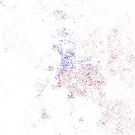 A map of racial distribution in Baton Rouge, 2010 U.S. Census. Each dot is 25 people: White, Black, Asian, Hispanic or Other (yellow)