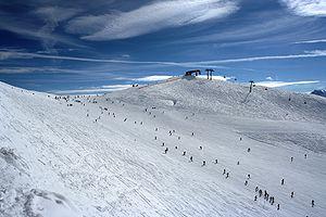Ski slope in Rastkogel ski resort (Zillertal valley)