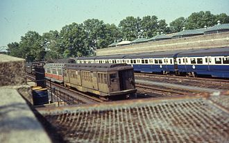 Boston Elevated Railway - Retired BERy-era heavy rail subway cars at the MBTA Red Line's former Eliot Yard, 1967