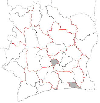 Subdivisions of Ivory Coast - Image: Regions locator map of Côte d'Ivoire (non regions in grey)