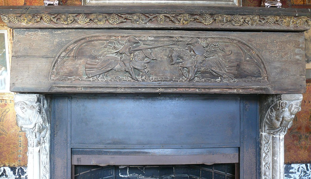 Mantle piece in the Renesse Castle. Woodcarving ca. 1500 depicting a tournament.