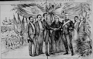 Prudente de Morais - President Morais shakes hands with King Carlos I of Portugal during the reestablishment of relations between Brazil and Portugal after talks mediated by Queen Victoria, March 16, 1895.