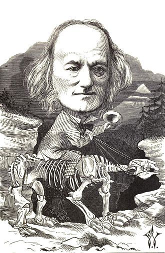 "Richard Owen - 1873 caricature of Owen ""riding his hobby"", by Frederick Waddy"