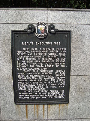 National Historical Commission of the Philippines - Image: Rizal's execution site historical marker at Rizal Park, Manila