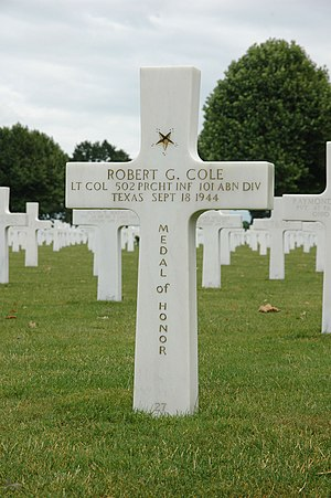 Robert G. Cole - Grave, Netherlands American Cemetery and Memorial, Margraten, the Netherlands.