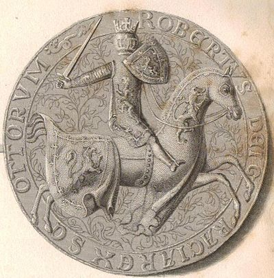 Robert the warrior and knight: the reverse side of Robert II's Great Seal, enhanced as a 19th-century steel engraving Robert II (Alba) ii.JPG