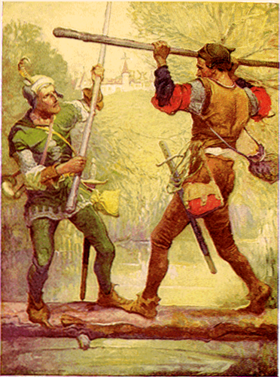 Robin Hood and Little John, Illustration de Louis John Rhead pour le conte (en) Bold Robin Hood and His Outlaw Band : Their Famous Exploits in Sherwood Forest