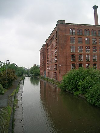 Miles Platting - The Rochdale Canal is routed through Miles Platting.