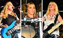 A rectangle cut into three, each with a head-shot photograph of each of the three members of Rock Goddess.