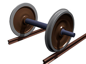Axle - Railroad car wheels are affixed to a straight axle, such that both wheels rotate in unison. This is called a wheelset.