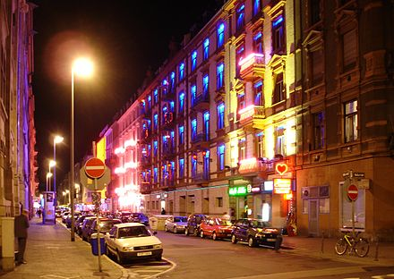 Often stereotyped as a financial city, Frankfurt is multifaceted, including the entertainment district at Bahnhofsviertel. Rotlichviertel Frankfurt Main.JPG