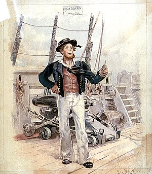 Warrant officer (United Kingdom) - A boatswain of the Royal Navy in about 1820.