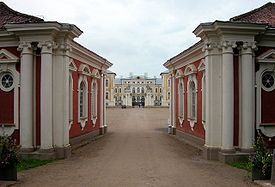 Entrance to the Rundale Palace, the seat of the Dukes of Courland.