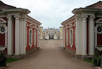 Courland - Entrance to the Rundale Palace, the seat of the Dukes of Courland