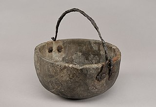 Pot of soapstone, partly reconstructed, Viking Age. From Birka Sweden.