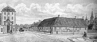 Sølvgade - The extended Sølvgade in 1898 with Sølvgade Barracks on the left