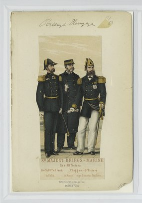 S-r Majest. Kriegs - Marine- Lin. Schiffs-Lieut. (in Galla), See-Officier (in Mantel), Flaggen-Officiere (in gr. Dienstes Uniform.) (NYPL b14896507-90711).tiff