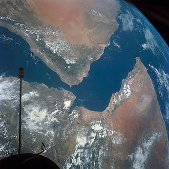 Gemini 11 - Arabian Peninsula (top left) and northeast Africa (bottom) as seen from the orbiting Gemini-11 spacecraft at an altitude of 340 nautical miles during its 27th revolution of Earth. (Taken with a modified 70mm Hasselblad camera.)
