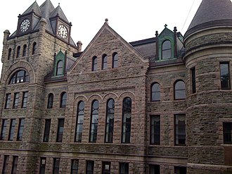 Supreme Court of Newfoundland and Labrador - North facade and clocktower of the St. John's Court House.