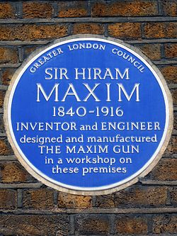 Photo of Hiram Maxim blue plaque