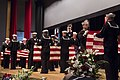 Sailors fold American flags during a memorial ceremony (34727755474).jpg