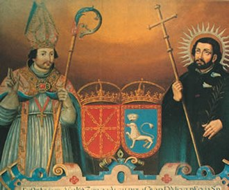 Fermin - Baroque-era depiction of Saint Fermin (left) and Saint Francis Xavier, principal co-patrons of the Kingdom of Navarre.  The coat of arms of Navarre and Pamplona are also visible.