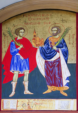 Saints Vitalis and Agricola - The painting of Christian martyrs Vitalis and Agricola in Bologna.