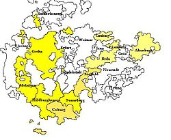 Thuringia, showing the combined territory of Saxe-Gotha and Saxe-Altenburg, before it was again divided (1672 – 80)