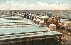 Salt industry in Syracuse, New York - Salt sheds and solar evaporation method – c. 1908