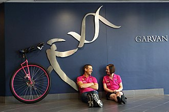 Samuel Johnson (actor) - Samuel Johnson and his sister Connie visiting the Garvan Institute of Medical Research in December 2013 as part of his unicycle world record attempt