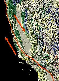 Map of the San Andreas Fault, showing relative motion.