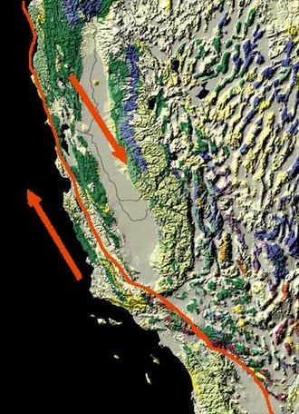 Transverse Ranges - The San Andreas Fault trends more east-west where it cuts through the Transverse Ranges.