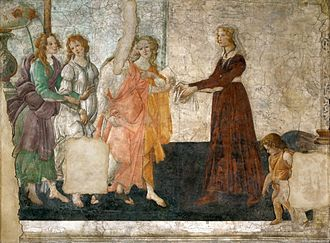Venus and the Three Graces Presenting Gifts to a Young Woman - Image: Sandro Botticelli 027