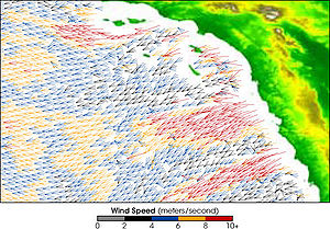2007 California wildfires - QuikSCAT image from 2002 showing the speed of the Santa Ana winds (m/s)