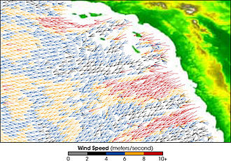Santa Ana winds - QuikSCAT image showing the speed of the Santa Ana winds (m/s)