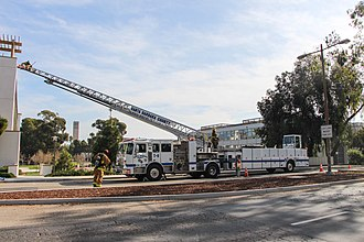 Santa Barbara County Fire Department - Truck 11 during a training drill